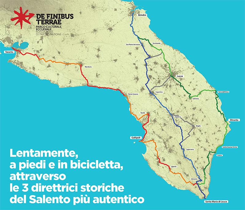 Le tre direttrici storiche del Salento: via Sallentina, via Traiana Calabra, via Leucadense
