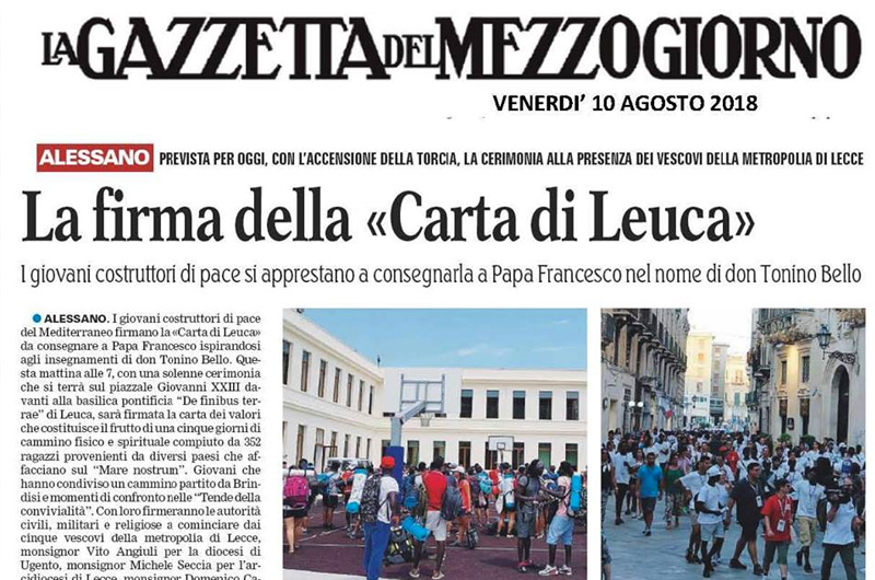 Firma Carta di Leuca (Gazzetta del Mezzogiorno)